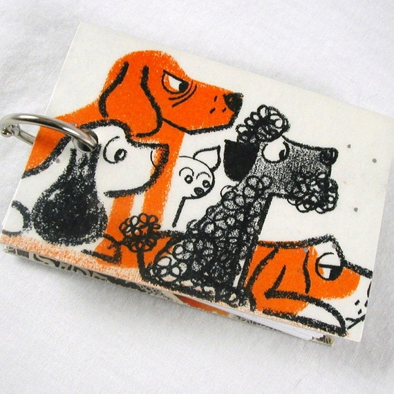 Dogs of All Shapes and Sizes, Orange, Black and White, Mini Refillable Recycled Notepad, Upcycled Kids Book About Pets