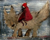 Storybook Art, Unique Outsider Style Wall Decor, Fairy Tale Painting, Little Red Riding Hood