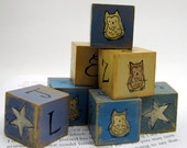 Building Blocks for Nursery, Hand Painted Woodland Owls, Childrens Play Set