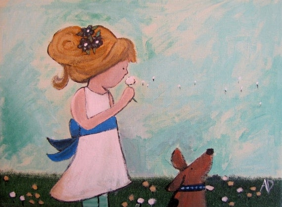 Whimsical Original Painting 12 x 9 Golden Girl by Andrea Doss