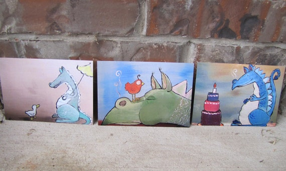 Whimsical Childrens Art Dragon Postcards by Andrea Doss Set of Three