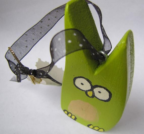 Lucky Owl Ornament, Art Door Hanger, Christmas Decoration, Green, Holiday, Gift for Kids