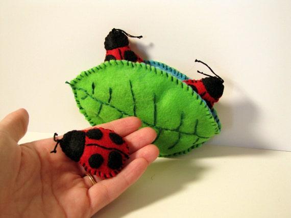 Felt Ladybug and Leaf Whimsical Plush Toys Imagination Play Set