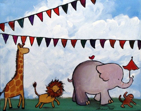 Jungle Painting Childrens Art Zoo Animals Artwork For Kids