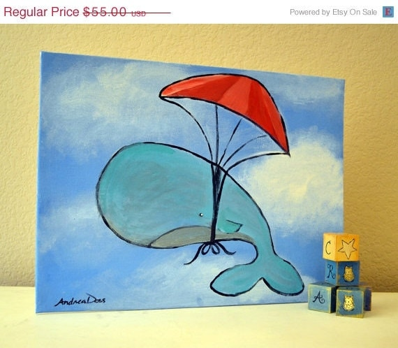 30% off Sale Kids Art, Whale Painting, Childrens Artwork, Original Painting, Nursery Decor 12 x 16, Gift for Kids, free shipping