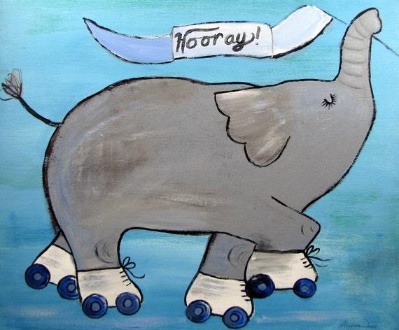 Nursery Decor, Whimsical Storybook Elephant, Roller Skates Celebration, Whimsical Children Canvas Art, Original Acrylic Painting