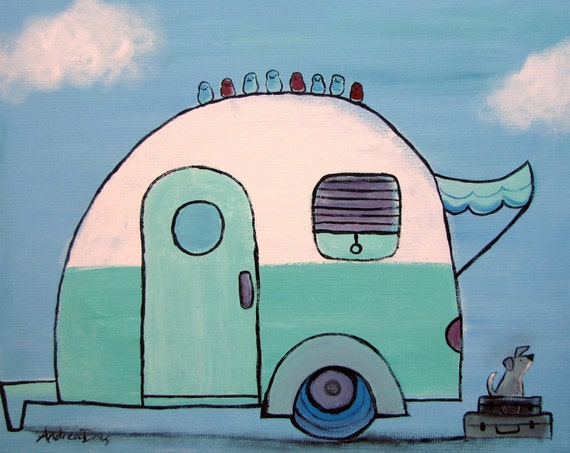 Retro Camper, Whimsical Childrens Decor, Camping Nursery Art, Kids Room, Original Acrylic Painting