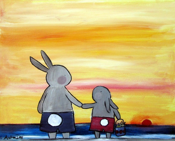 Whimsical Nursery Painting, Rabbit Childrens Decor, Kids Art, Father and Son, Sunset Beach, Original Acrylic Painting