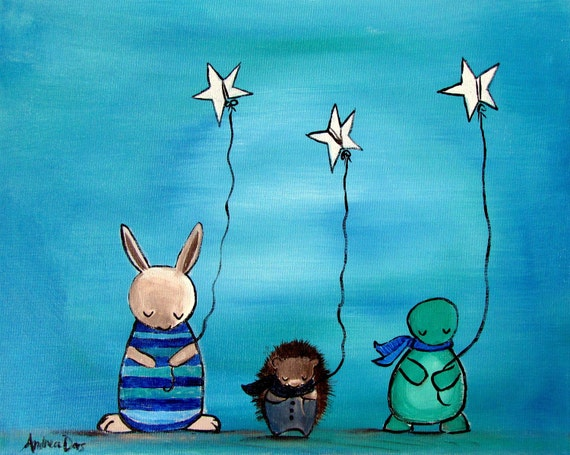 Whimsical Woodland Art, Childrens Decor, Kids Room Art, Star Balloons, Rabbit Hedgehog Turtle