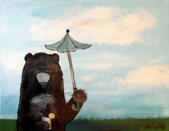 Storybook Style Woodland Bear, Whimsical Childrens Decor, Kids Room Art, Nursery Wall Decoration, Original Acrylic Painting