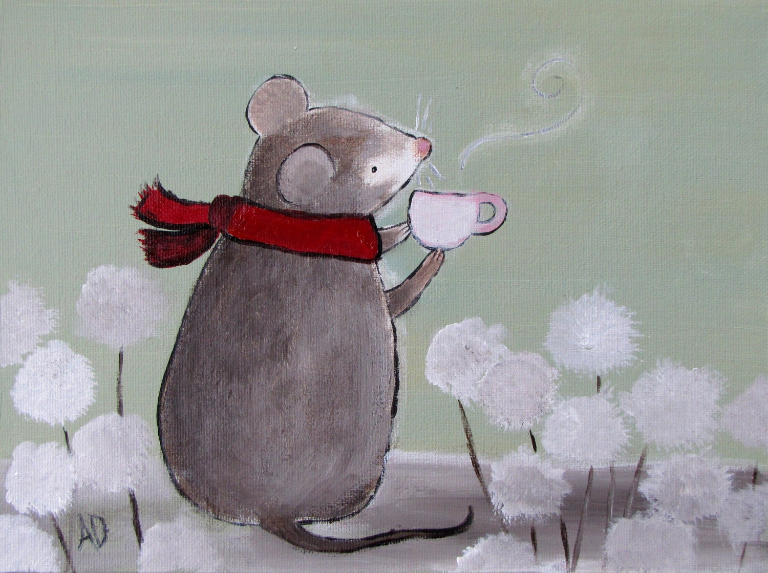 Kids Art Childrens Painting Nursery Decor Tea Mouse