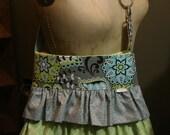 Ruffled Handbag /Cross Body Bag/ Diaper Bag/ Caitlynn Tote-Large