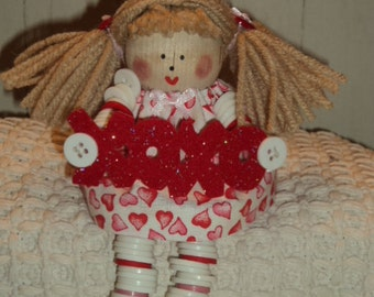 Valentine Doll with Button Arms and Legs