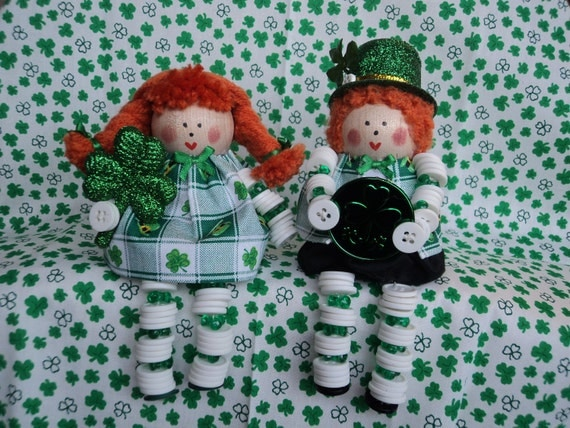St. Patrick's Day Boy and Girl Button Dolls
