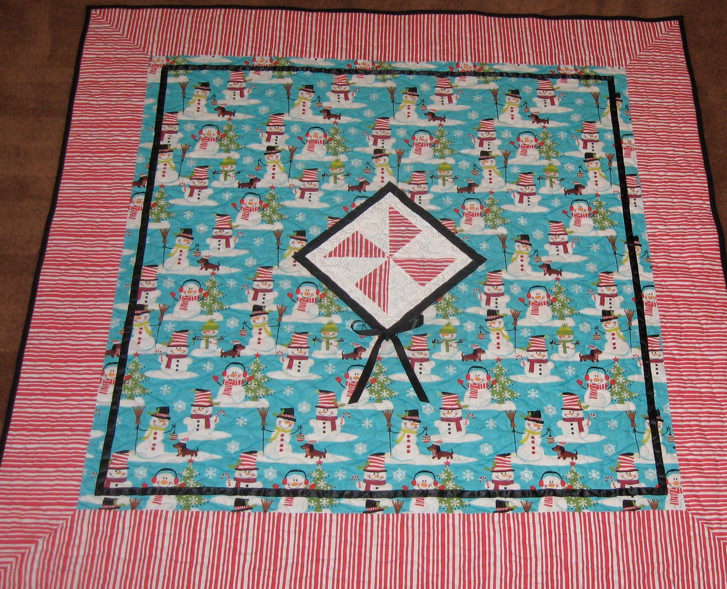 Whimsical Turquoise Christmas Quilt