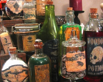 12 Halloween Potion Bottle Labels - One of a Kind Designs - Peel-n-Stick Stickers (set A)