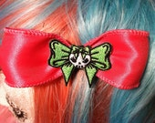 Pink & Green Cutie Bow with skull