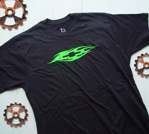 Flamed Chevy Bowtie Neon Green On Black T Shirt By