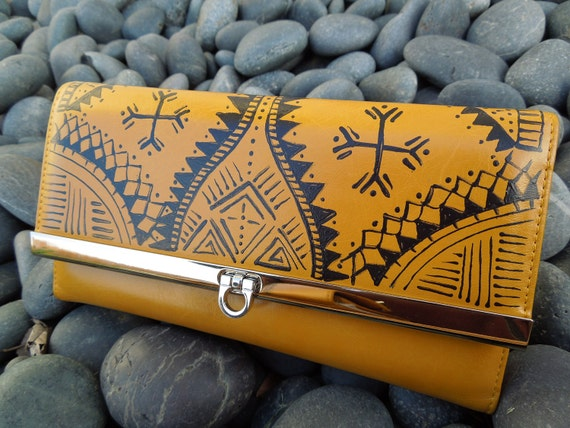 Mustard Yellow hand painted tribal wallet