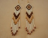 Beaded Brown Tone and 24K Gold plated Stylish Native Earrings AZ dayz