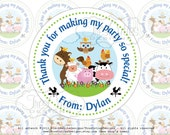 Farm Animals  - Thank You Tags  - 2inches Circles For Gift Tags, Favor Tags - Printable PDF - DIY