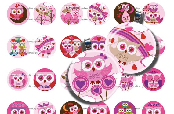 Valentine Owl-1inch Circles for Jewelry, Pendants, Bottle Caps, Hairbows, Magnets, Pin Backs and much more-Collage Sheet-PDF file ONLY