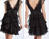 Black lace taffeta dress---Reserved for Patti