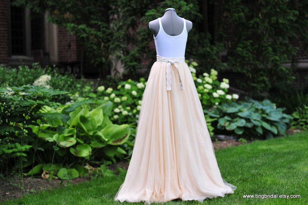 Gorgeous peach chiffon tulle long skirt with sweep train 34 44 for How to make a long tulle skirt for wedding dress