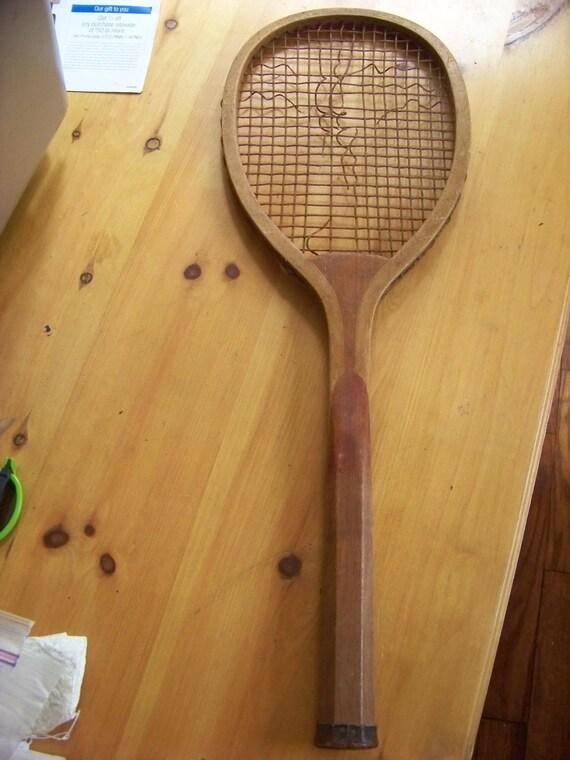 Antique 1900s Solid Wedge Wood Tennis Rachet Tennis Racket