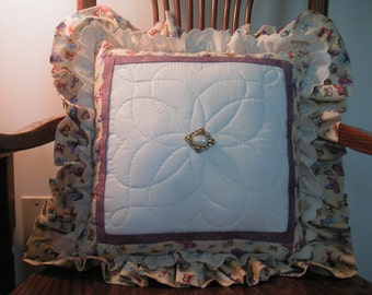 Lavender & Yellow  Hand Quilted Patchwork Pillow