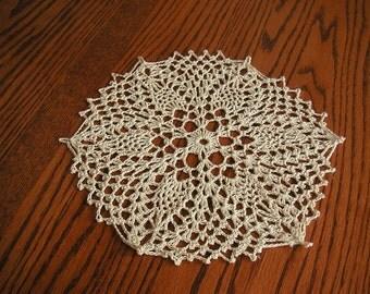 Ecru Cotton Doily - 8.5 inches in diameter