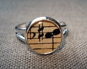 Delicate Sounds --- Vintage Sheet Music in Resin --- Ring
