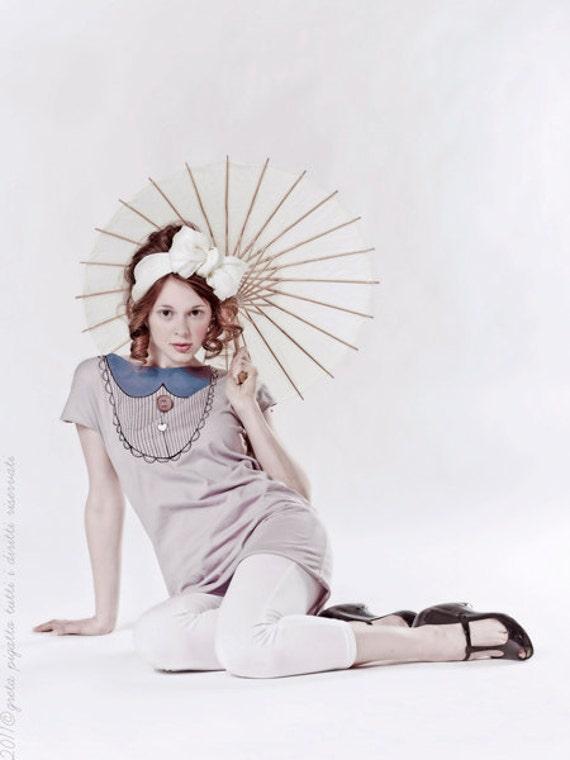 1920s retrò collar spring dress mauve color dress, hand-painted unique handmade women cotton dress