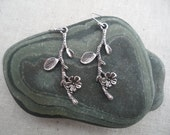 Silver Branch Earrings - Silver Flower Earrings - Cherry Blossom Branch Earrings - Simple Everyday - Unique & Fun Jewelry