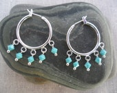 Turquoise Earrings - Turquoise Jewelry - Silver Hoops- Dangle - Chandelier - Unique & Fun Jewelry