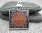 Symbolic Longevity Pendant - Winter Hoilday Gift - Flower Art Pendant with Silver Necklace - Square - Unique & Fun Jewelry