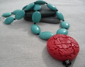 Turquoise Necklace - Cinnabar Jewelry - Chunky - Statement - Turquoise Jewelry - Unique & Fun Jewelry