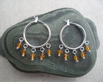 Bohemian  Hoop Earrings - Dangle - Chandelier - Silver Hoops with Topaz Crystals - Unique & Fun Jewelry