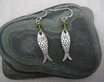 Silver Fish Earrings - Fish Jewelry - Green - Simple - Everyday - Unique & Fun Jewelry