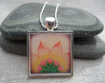 Flower Necklace - Flower Jewelry - Spring Summer - Flower Pendant with Silver Necklace - Simple Everyday - Unique & Fun Jewelry