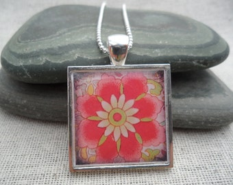 Pink Jewelry - Pink Necklace - Flower Jewelry - Simple Necklace - Flower Art Pendant with Silver Necklace - Square - Unique & Fun Jewelry