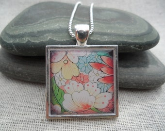 Flower Necklace Flower Jewelry - Simple Necklace - Flower Art Pendant with Silver Necklace - Square - Unique & Fun Jewelry