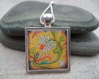 Yellow Necklace - Flower Jewelry - Simple Everyday - Flower Art Pendant with Silver Necklace - Unique & Fun Jewelry