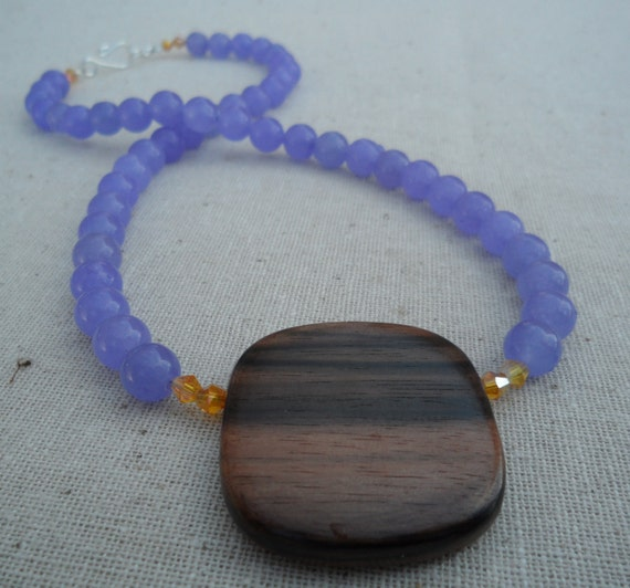Purple Necklace - Purple Jewelry - Wood Jewelry - Modern - Simple - Everyday - Unique - Fun