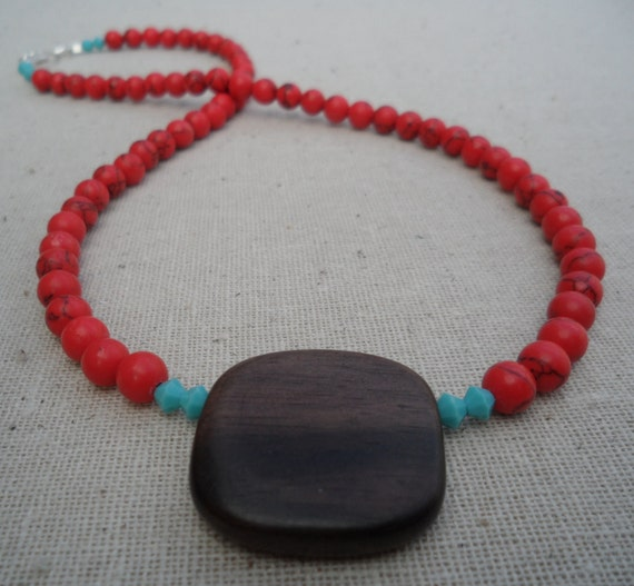Turquoise Necklace. Red Jewelry. Wood Pendant. Red Turquoise & Blue Turquoise Necklace with Square Wood Pendant.