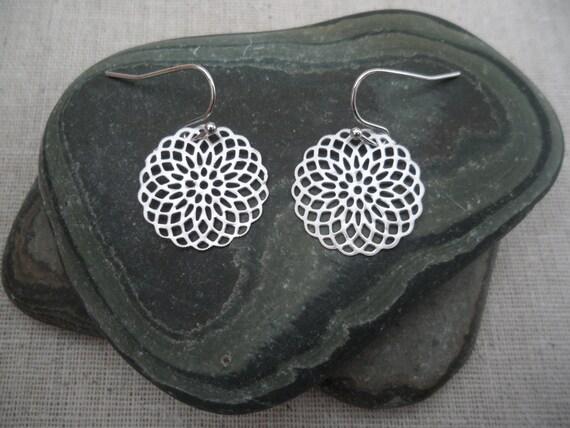 Silver Earrings - Modern - Flower - Mandala - Unique & Fun Jewelry