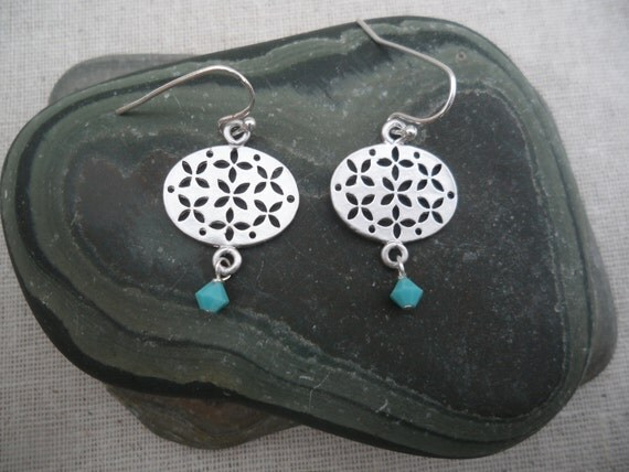 Turquoise - Silver Earrings - Crystal - Dangle - Simple Everyday Jewelry - Lantern - Unique & Fun Jewelry