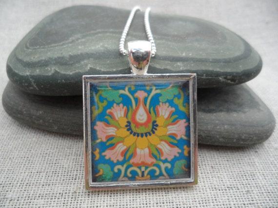 Bohemian Flower Necklace - Blue Flower Pendant - Summer Jewelry - Unique & Fun - Boho Chic Necklace