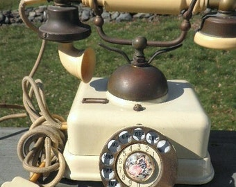 Authentic Vintage Brass and Bakelite 4 Prong Telephone
