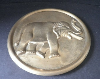 Large Vintage Bronze Elephant Trivet
